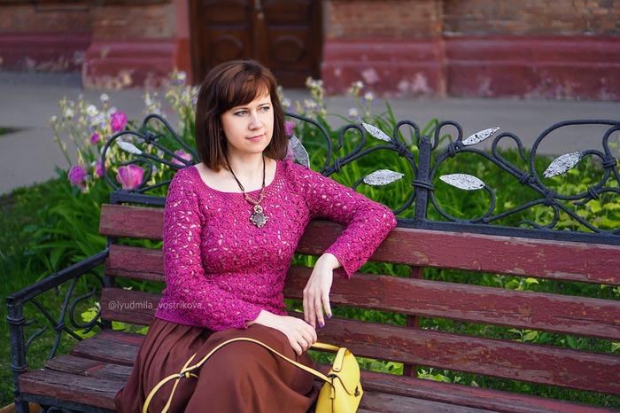 Фото. Ажурный пуловер из шелка. Пряжа Premium Silk от Seam.  Автор работы - LadyMila