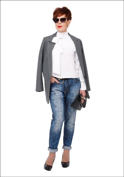 Комплект №1 . Жакет – Zara. Блуза – Mango. Джинсы – Aprangos Galerija. Туфли – Este