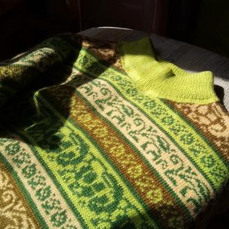 Фото. За две недели я перевязала всю тонкую пряжу и одела всю семью. Первые вещи на вязальной машинке. 1994 г .
