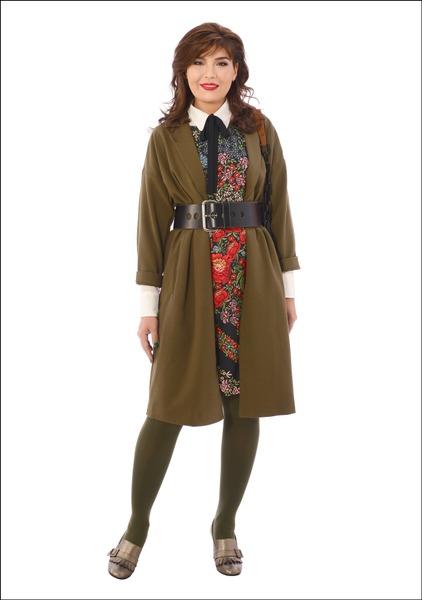 Комплект №2 . Пальто и сумка – Mango. Платье – Promod. Блуза и ремень – Mexx. Туфли – Fabiani. Колготки – Calzedonia