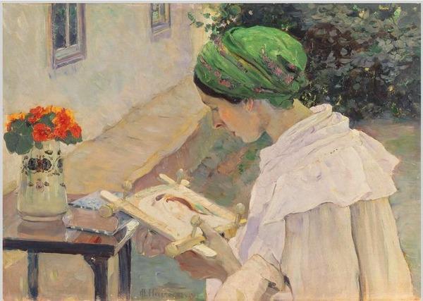 """Фото. М. В. Нестеров М. В """"Портрет Е. П. Нестеровой за вышиванием"""" (1909)"""