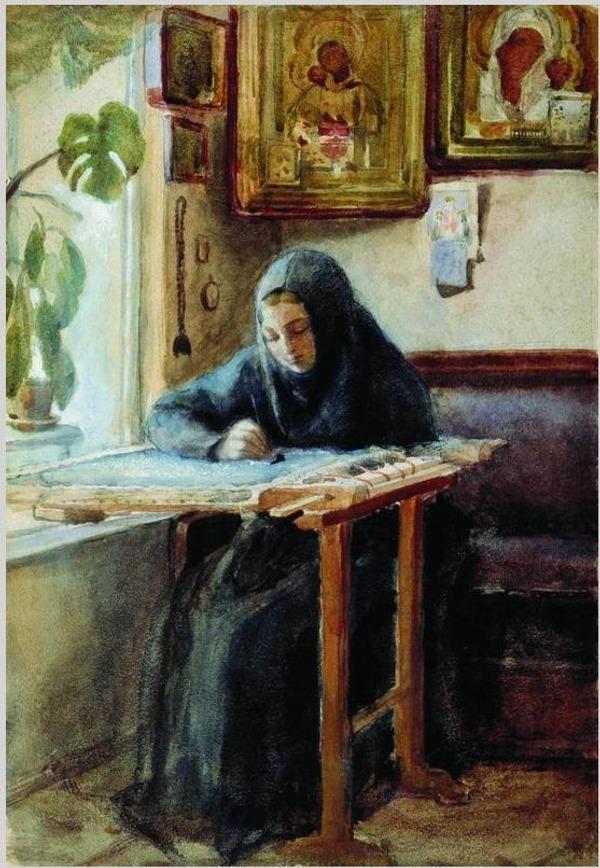 """Фото. Н. В. Неврев  """"За вышиванием"""" (1830 - 1904)"""