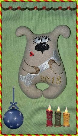 Фото. Новогодняя собачка по дизайну Жанны1.  Автор работы - lubasik34