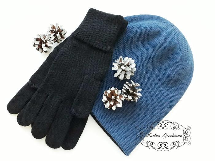 Фото. Для любимых мужчин. Шапочка и перчатки. Автор работы  - Яблоневый цвет