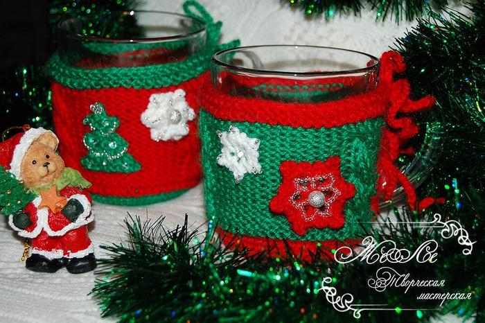 Фото. Вот такие вот чашечки в новогодней теплой шубе. Автор работы - Zerera