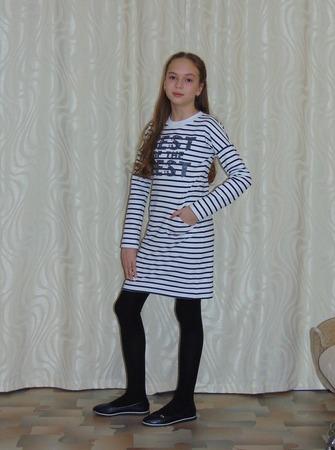 Фото. Платье для дочки из футера 2-нитка с лайкрой. Автор работы - Салампи