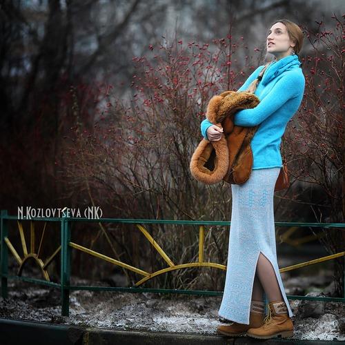 Фото. Новые вязалочки - юбка и водолазка.  Автор работы - NK