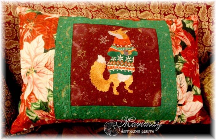Фото. Подушка с вышивкой.  Автор работы - marimay
