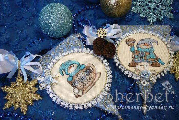 """Фото. Новогодняя гирлянда. Design Works """"Cocoa Snowmen""""..  Автор работы - Sherbet"""