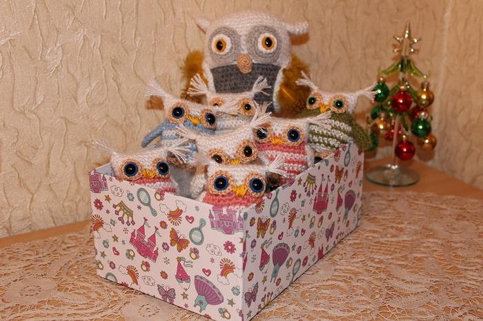 Фото. В подарок деткам совята с мамой-совой.   Автор  работы - Ворсиночка