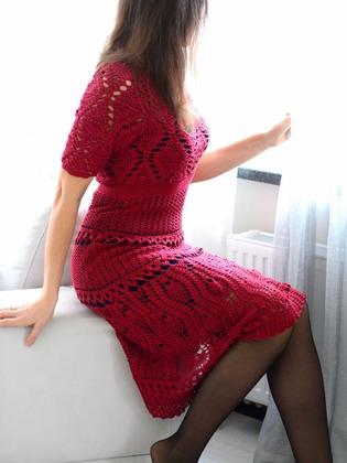 Фото. Платье из темы Красный кардинал. Платье крючком от Oscar de la Renta.   Автор работы - mazepyla