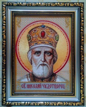 Фото. Икона Св. Николая Чудотворца (дизайн авторский). Машинная вышивка. Автор работы - Dmitriy_A