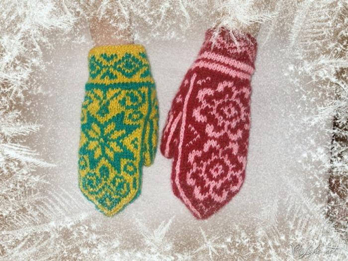 Фото. Детские варежки с норвежскими узорами.  Автор работы - Вовольга