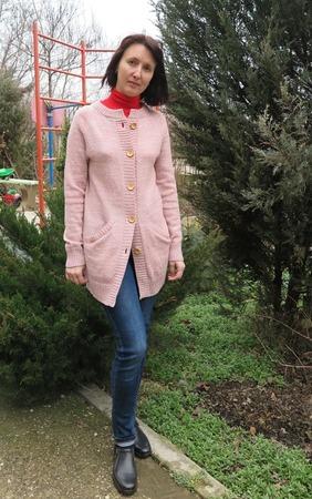 Фото. Твидовый кардиган, машинное вязание. Автор работы - Svetlaniya