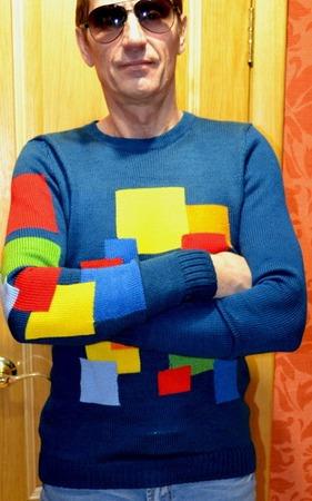 Фото. Легкий джемпер для мужа, пряжа laster wool. интарсия. Автор работы - Лора Лора