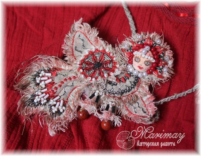 Фото. Мезенская птичка. Машинная вышивка.  Автор работы - marimay