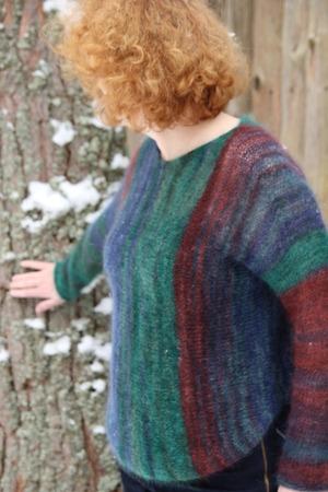 """Фото. Свитер """"Водопад"""" собственного сочинения, по мотивам Нацуми. Пряжа Rowan Kidsilk Haze Stripe, цвет Forest, плюс тонкая нить мериноса тёмно зелёного."""