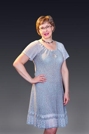 """Фото. Платье для дома. """" Камешки. Белые на шоколаде"""". Машинное вязание. Автор работы - Sellya"""
