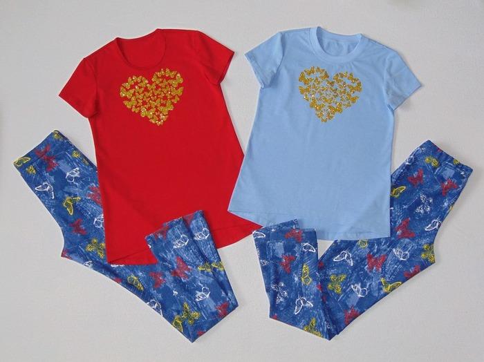 Фото. Для дочки и её подружки  - комплекты (леггинсы и футболки). Автор работы - Салампи