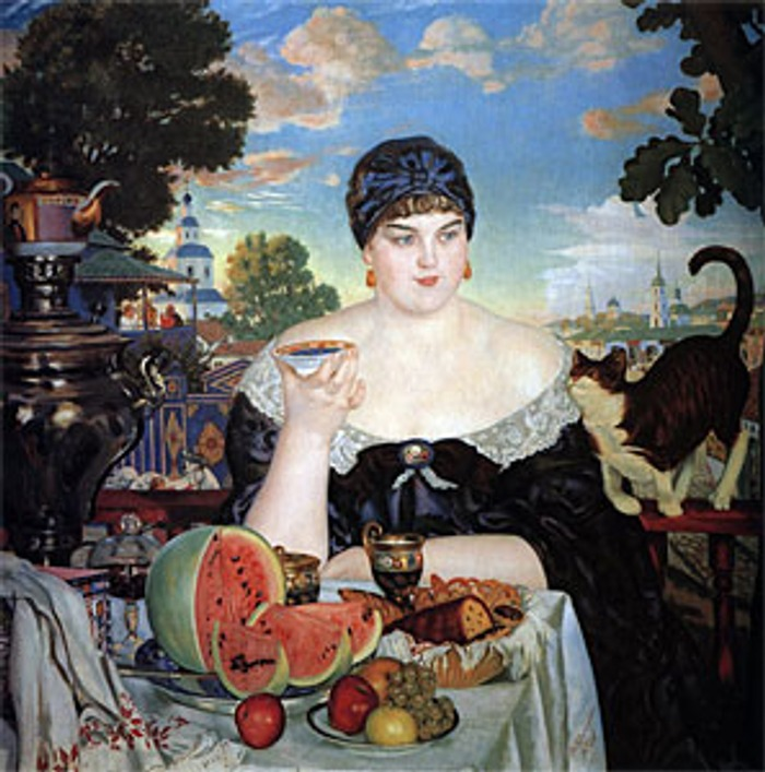 "Фото. Кустодиев Б. М. ""Купчиха за чаем"", 1918."