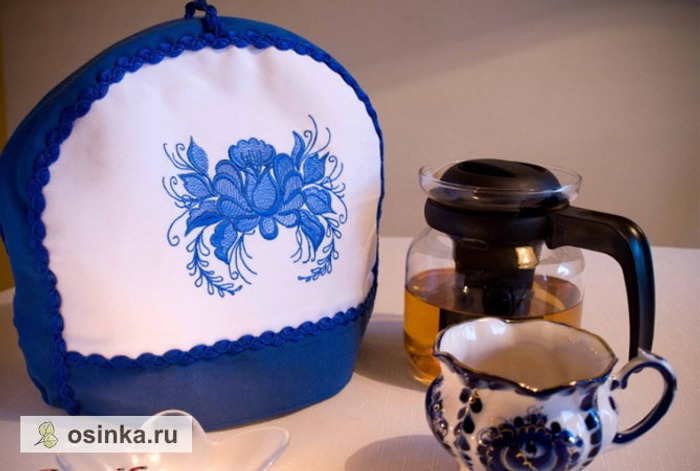 Фото. Машинная вышивка, стежка, отделка тесьмой - такая современная грелка получилась у Jonik