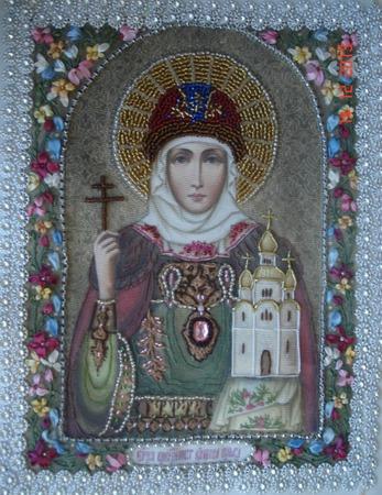 Фото. Икона Святой равноапостольной княгини Ольги. Автор работы - galina_55