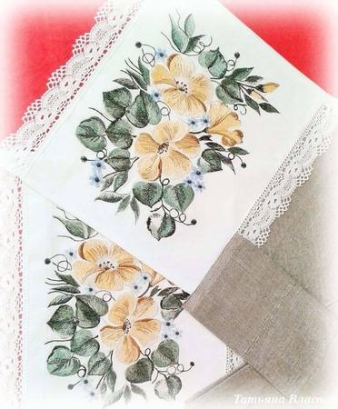 Фото. Набор льняных полотенец в подарок Автор  работы - Anfia