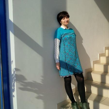 Фото. Вязала тунику....получилось платье.  Автор  работы - kovylkina18