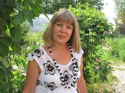 Фото. Надежда Северюхина (ник в Клубе - Северюжка ): Комбинирование ткани и вязания - моя любимая тема. Вот мой сарафанчик, поучаствовавший в конкурсе цветов и бабочек.