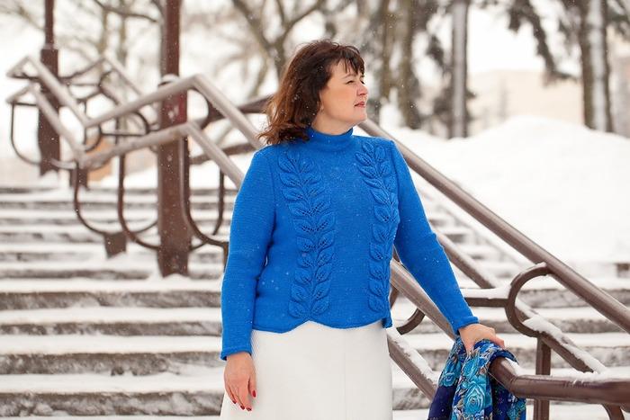 """Фото. """"Листатый свитер"""" из пряжи 95%шерсть мериноса и 5%шерсть кенгуру Kangaroo wool.  Автор работы - ARI"""