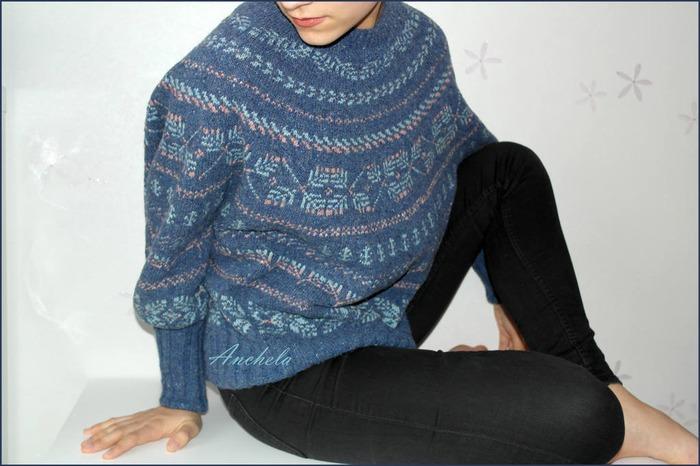 Фото. Жаккардовый пуловер оверсайз Twigs японского дизайнера Junko Okamoto.  Автор работы - Anchela