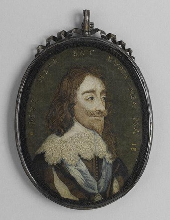 Фото. Портерт Карла I, приблизительно 1650-1670 г. Вышивка шелковыми и золотыми нитями.