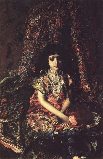 """Фото. Михаил Врубель """"Девочка на фоне персидского ковра"""", 1886."""