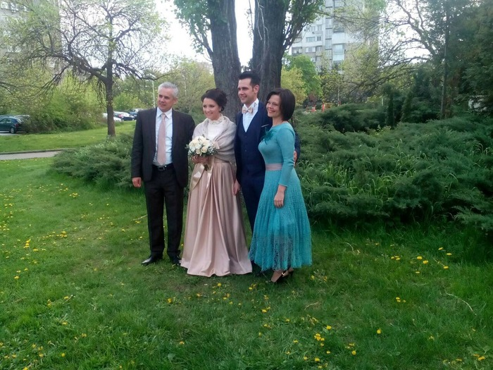 Фото. Платье из мохера с шелком и болеро из альпаки к свадьбе.  Автор работы - Aнжи