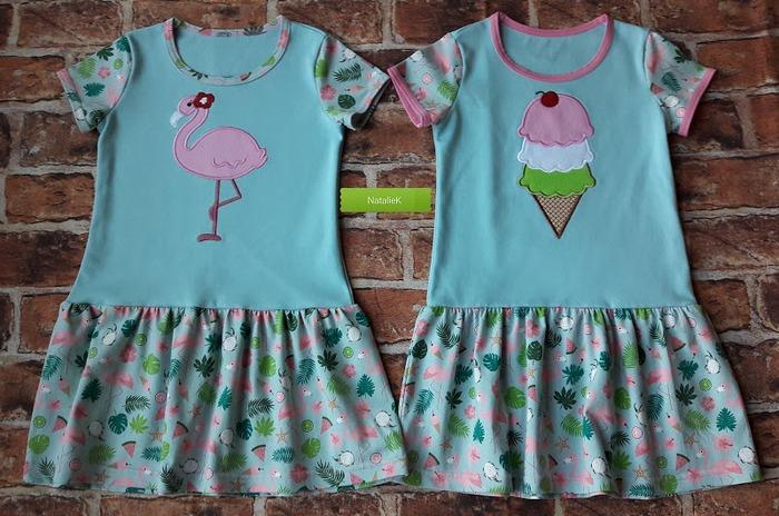 Фото. Платья на девочку, аппликация - машинная вышивка.  Автор работы - NatalieK
