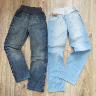 Фото. Были две пары взрослых джинсов - стали две пары детских. Автор работы - jul@