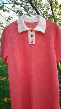 Фото. Платье с воротником поло. Машинное вязание. Автор работы - Luluma