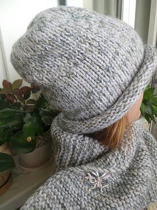 Фото. Шапка и шарф серый меланж.  Автор работы - InTsvetkova