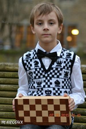 "Фото. Жилетка любителю шахмат ""Schahmeister (Шахмастер)"", носочная пряжа от Lana Grossa."