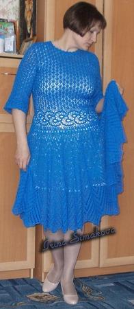 Фото. Платье из хлопка с вискозой крючком.   Автор работы - мамочкаИрочка