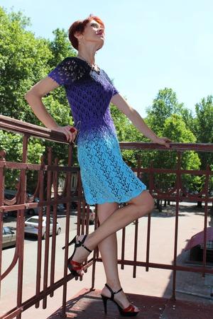 Фото. Платье градиент. Пряжа  - 100% хлопок, цвет - ирис, марине и капри.  Автор работы - O -Ksana