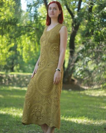 Фото. Платье можно связать и по мотивам понравившейся модели. Пряжа - итальянский хлопок, сток.  Автор работы - Kaori