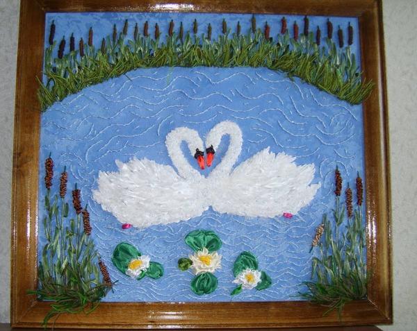 """Фото. Вышитая картина """"Лебеди"""".  Автор работы - babuliahak"""