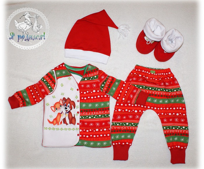 Фото. Новый год к нам мчится - комплект для малыша: кофта с ассиметричной застежкой, штаны, колпак, жилетка из двух слоев флиса, ботиночки с утепленной подошвой..
