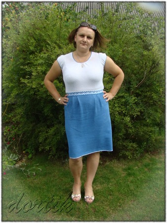 Фото. Бело-голубое платье. Автор работы - dortik