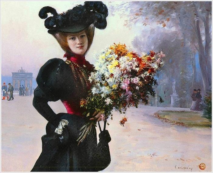 """Фото. Fernand de Launay (French , 1877-1904) """"La femme au fleurs jardin du Tuileries""""."""