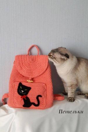"""Фото. Ребятенку вязаный рюкзак из хлопка """"Без кота и жизнь не та..."""".    Автор работы - NatkaD"""