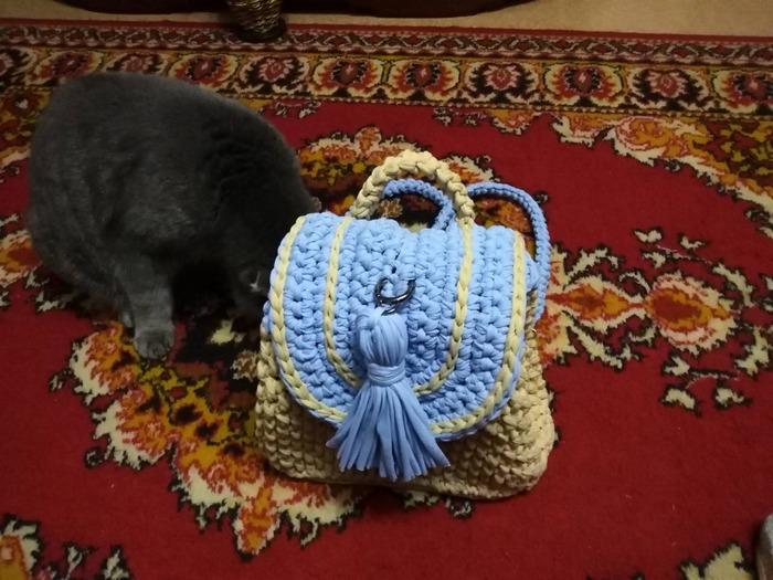 Фото. Рюкзак из трикотажной пряжи Saltera, цвета каппучино и нежный голубой,крючок №№7 и 8. Автор работы - Galas