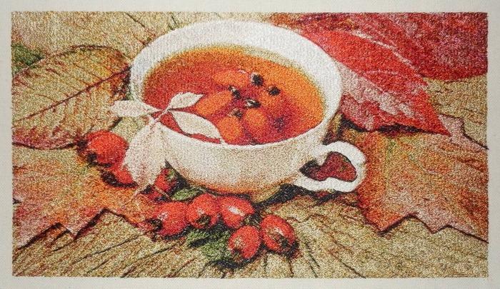 """Фото. """"Осеннее чаепитие"""", машинная вышивка.  Автор работы - Skarapey"""