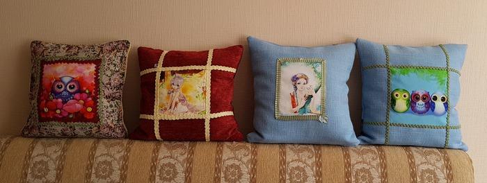 Фото. Главное в подушке, чтобы на ней было удобно поваляться! Подушки из мотивов (эти сделаны для 3 внучек и дочери) - яркие и очень практичные!  Автор работы - TatNik